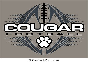 cougar football team design with paw print and ball for...