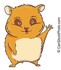 Cartoon image of waving hamster. An artistic freehand...