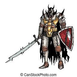 guerreira, imagem, caricatura, espada