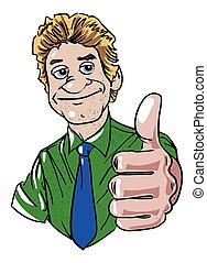 Cartoon image of man giving approval. An artistic freehand...