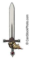 caricatura, imagem, espada, segurando, mão