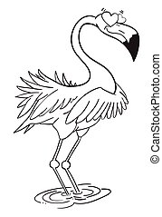 Cartoon image of flamingo in love. An artistic freehand...
