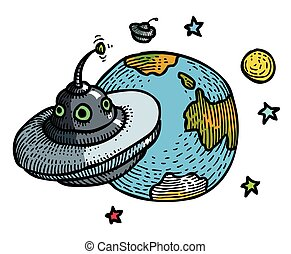 Cartoon image of flying saucer and planet