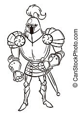 Cartoon image of medieval knight. An artistic freehand...