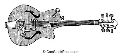 Cartoon image of electric guitar. An artistic freehand...