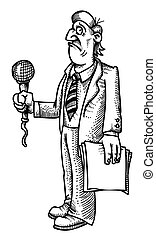 Cartoon image of stressed reporter. An artistic freehand...