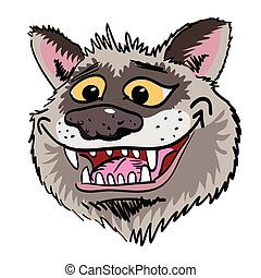 Cartoon image of grinning wolf face. An artistic freehand...