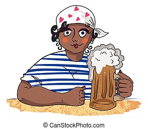 Cartoon image of hard working woman with beer. An artistic...