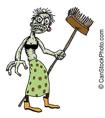 Cartoon image of undead monster lady cleaning. An artistic...