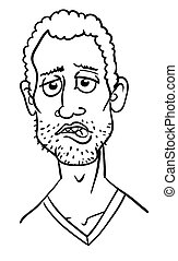 Cartoon image of man biting lip. An artistic freehand...