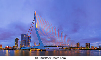 Erasmus bridge and Rotterdam cityscape - Netherlands -...