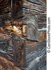 Corner of old log cabin - Dovetail joint corner design of...