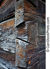 Corner of old log cabin - Dovetail joint corner design of...