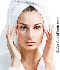 Young woman face before and after retouch.