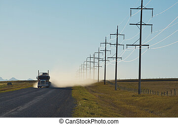 Truck and power lines - Sunlight reflecting on electrical...
