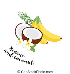 Funny fruit set. Bananas, coconuts and leaves. Set of...