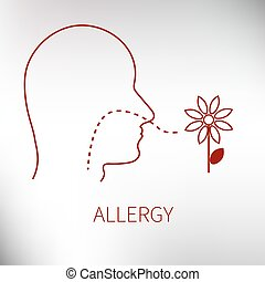icon allergy to pollen and flowers. Vector illustration
