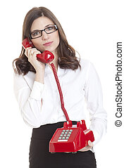 Young Woman Holding Old Red Phone Receiver - Young...