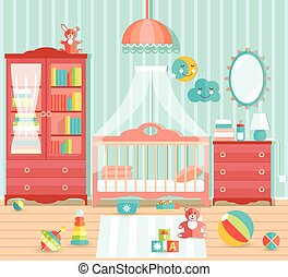 Baby boy room with furniture. Stylish cute blue colors. Flat...