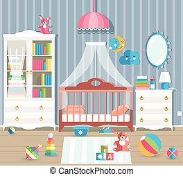 Baby room with furniture. Stylish cute colors. Flat style vector