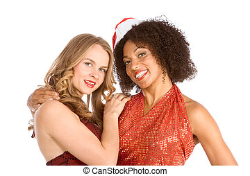 Christmas ethnic Latina Mrs Santa Claus friend - Two lesbian...