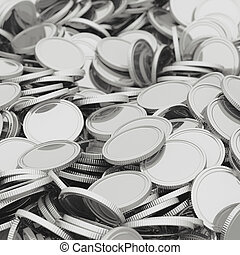 Scattered silver coins closeup background