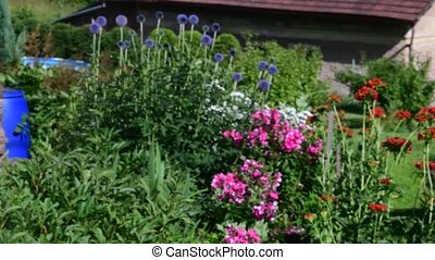 Village garden and rural house. Timbered house. Log cabin...