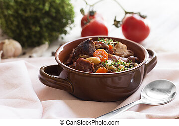 French cuisine - cassoulet. - Cassoulet. Containing meat...