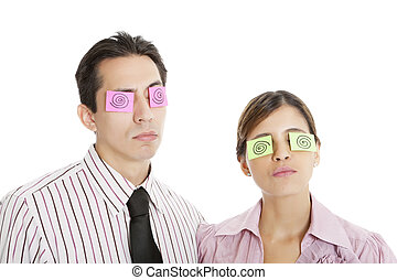 Sticky Notes As Crazy Eyes - Office workers wearing sticky...