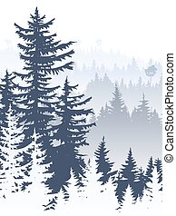 Vertical abstract illustration of foggy forest hills. -...