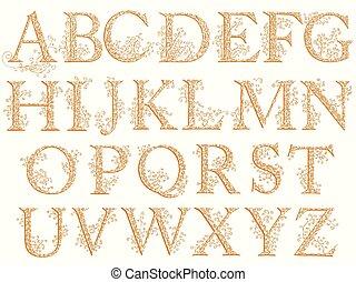 Vintage fishnet (floral) alphabet font. - Set of fishnet...