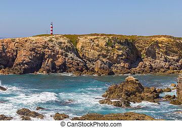 Lighthouse in Porto Covo beach, Alentejo, Portugal