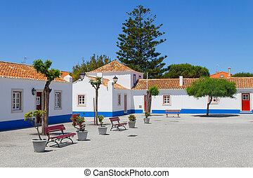 Buildings in Porto Covo village, Alentejo, Portugal