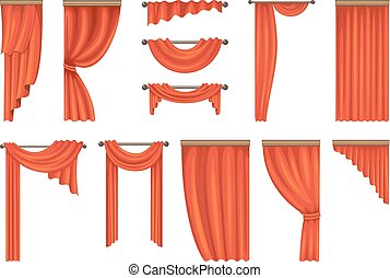 Vector set of theatre red curtains