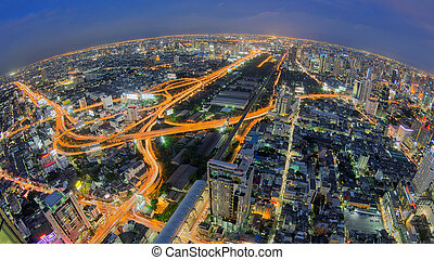 Bangkok Expressway and Highway top view of Thailand, with...