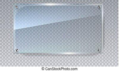 Blank, transparent vector glass plate. Vector template,...