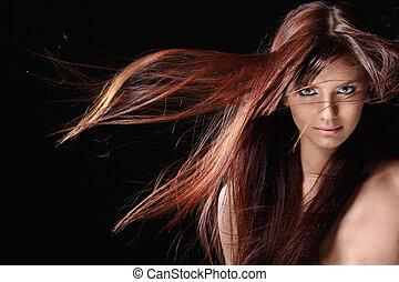 gyönyörű, leány, piros, haj