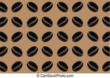Black coffee beans on a brown background - vector pattern