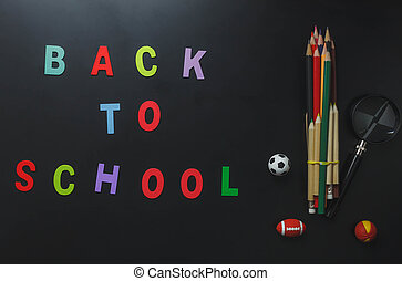 "Top view colorful alphabet ""BACK TO SCHOOL"" with stationery..."