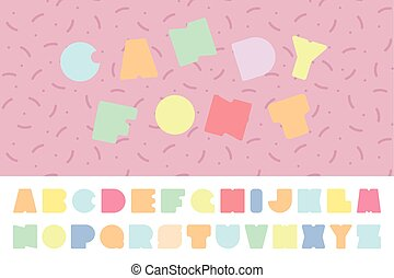 Bright colorful font. Funny english alphabet. Candy letters.