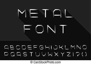 Metal font. Iron english alphabet. Steel latin letters.