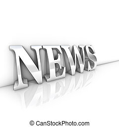 News text - Rendering of a silver news text in a white room