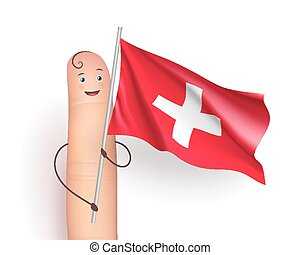 Switzerland waving flag. Happy finger holding pole....