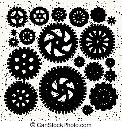 Industrial illustration set of mechanical metal wheels gears and cogwheels. Vector monochrome illustrations