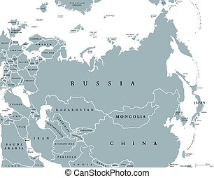 Eurasia political map with countries and borders. Combined...