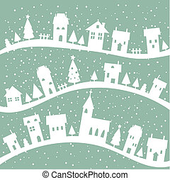 Winter village christmas background, illustration