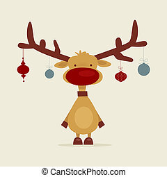 Retro cartoon reindeer, illustration