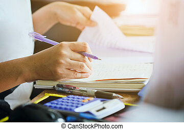 business accounting background. - close up female hands of...