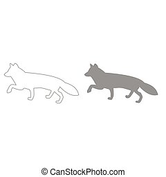 Fox of silhouettes grey color set icon .