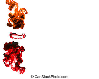 Cloud of colorful inks in water isolated. - Color drop in...